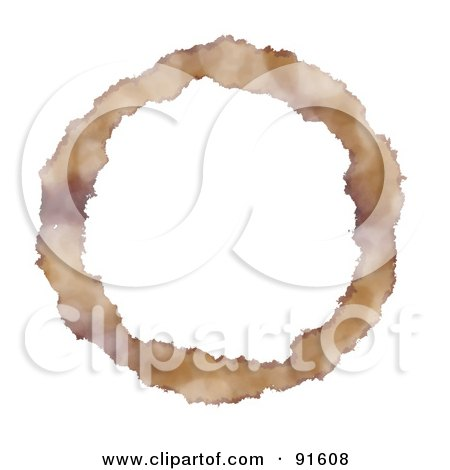 Royalty-Free (RF) Clipart Illustration of a Coffee Ring Circle Over White by Arena Creative