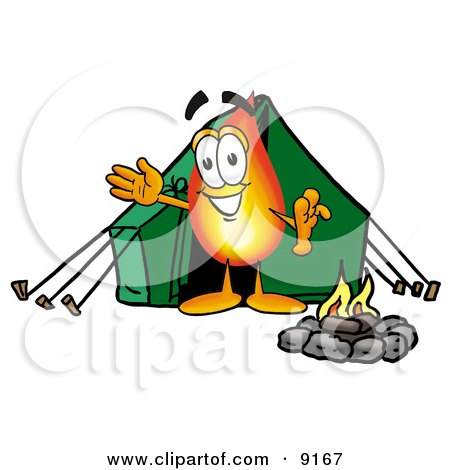 Flame Mascot Cartoon Character Camping With a Tent and Fire Posters, Art Prints