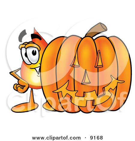 Clipart Picture of a Flame Mascot Cartoon Character With a Carved Halloween Pumpkin by Toons4Biz