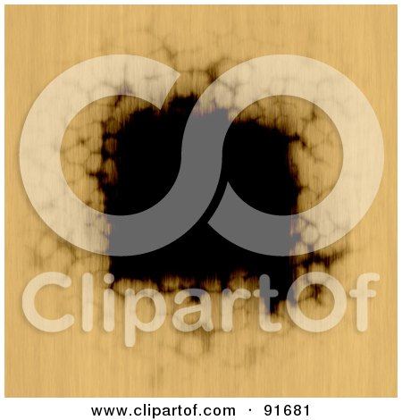Royalty-Free (RF) Clipart Illustration of a Burnt Black Hole In Tan Paper by Arena Creative