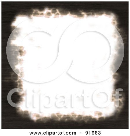 Royalty-Free (RF) Clipart Illustration of a White Piece Of Paper With Dark Burnt Edges by Arena Creative