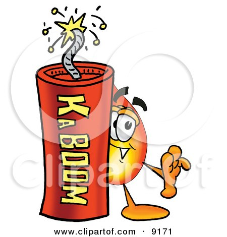 Clipart Picture of a Flame Mascot Cartoon Character Standing With a Lit Stick of Dynamite by Toons4Biz
