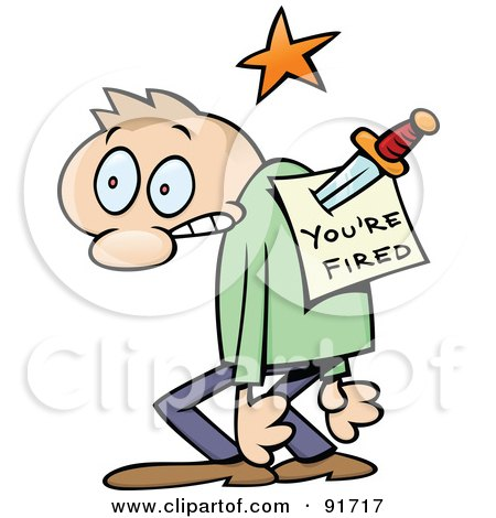Royalty-Free (RF) Clipart Illustration of a Toon Guy Stabbed In The Back With A You're Fired Notice by gnurf