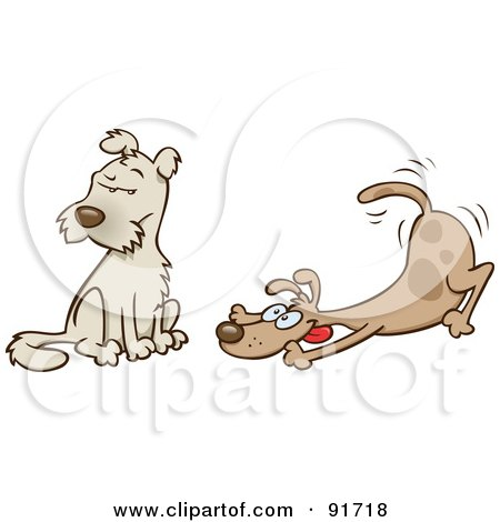 Royalty-Free (RF) Clipart Illustration of a Playful Dog Wagging His Tail And Trying To Entice A Friend To Play by gnurf