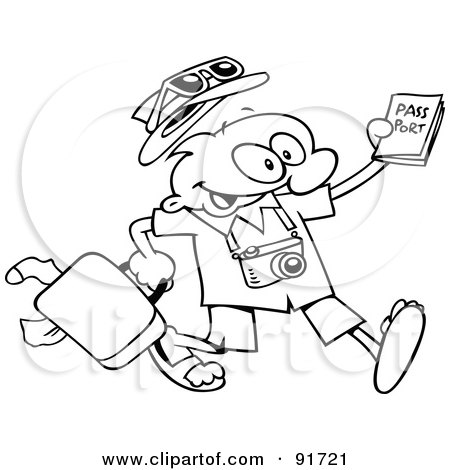 Royalty-Free (RF) Clipart Illustration of an Outlined Traveling Toon Guy Running With His Luggage And Passport by gnurf