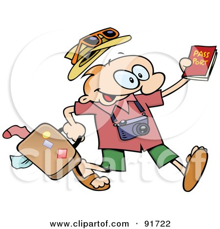 Royalty-Free (RF) Clipart Illustration of an Excited Toon Guy Running With His Luggage And Passport by gnurf