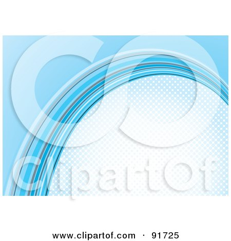 Royalty-Free (RF) Clipart Illustration of a Blue Horizontal Halftone Curve Background With Text Space by michaeltravers