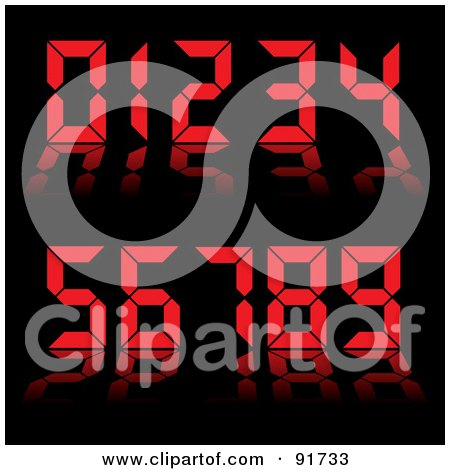 Royalty-Free (RF) Clipart Illustration of a Collage Of Red Digital Clock Numbers On Black by michaeltravers