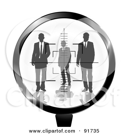 Royalty-Free (RF) Clipart Illustration of a Rifle Target Focused On Businessmen by michaeltravers