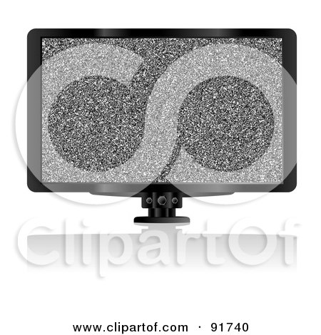 Royalty-Free (RF) Clipart Illustration of a Flat Screen Tv With Static by michaeltravers