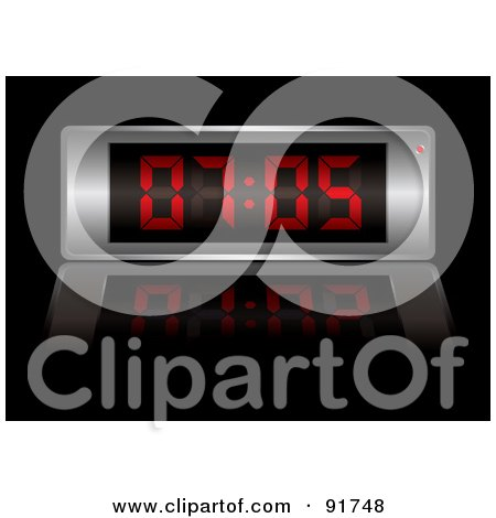 Royalty-Free (RF) Clipart Illustration of a Digital Clock With Red Numbers by michaeltravers