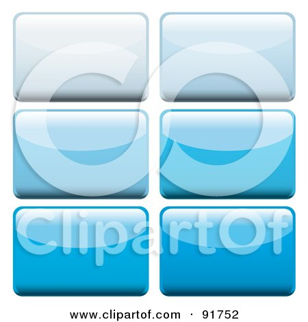 Royalty-Free (RF) Clipart Illustration of a Digital Collage Of Six Shiny Blue App Buttons by michaeltravers