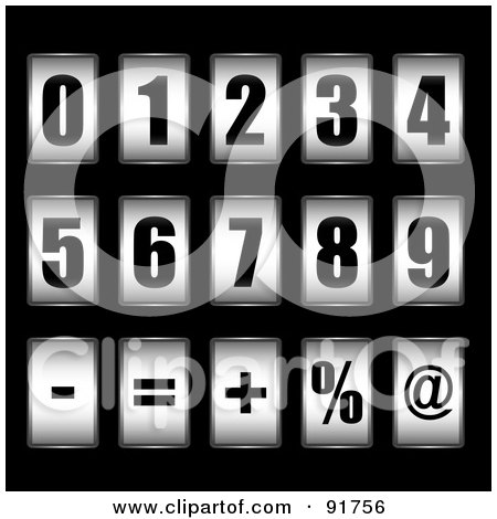 Royalty-Free (RF) Clipart Illustration of a Digital Collage Of 3d Black And White Ticker Counter Digits And Symbols by michaeltravers