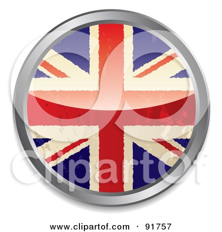 Royalty-Free (RF) Clipart Illustration of a Distressed British Flag App Button by michaeltravers