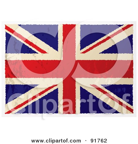 Royalty-Free (RF) Clipart Illustration of a Distressed Grungy Flat Aged British Flag by michaeltravers