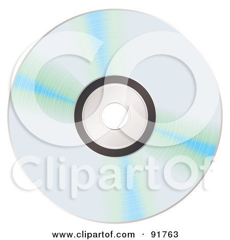 Royalty-Free (RF) Clipart Illustration of Blue Reflecting On A Shiny CD by michaeltravers