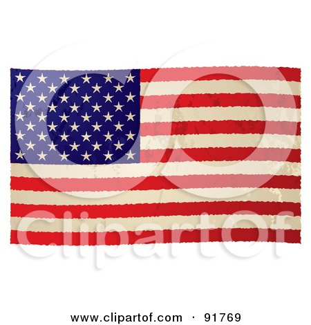 Royalty-Free (RF) Clipart Illustration of a Distressed Grungy American Flag by michaeltravers