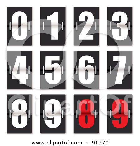 Royalty-Free (RF) Clipart Illustration of a Digital Collage Of White And Red Clock Counter Digits by michaeltravers