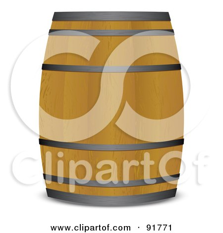 Royalty-Free (RF) Clipart Illustration of a Wooden Beer Keg Barrel by michaeltravers