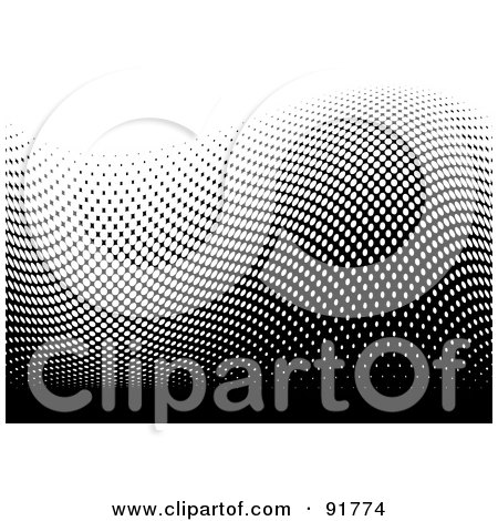 Royalty-Free (RF) Clipart Illustration of a Black And White Wave Of Halftone Dots by michaeltravers