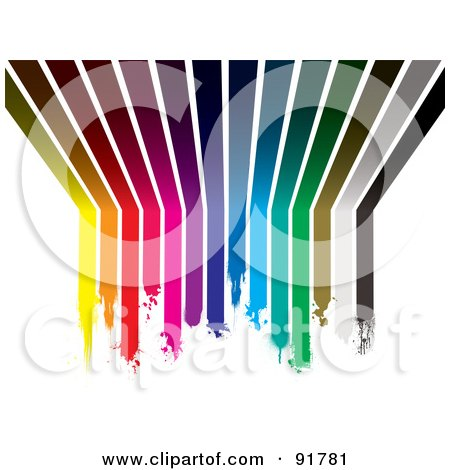 Royalty-Free (RF) Clipart Illustration of a Background Of Dipping Rainbow Paint Lines Curving From A Wall Up Onto A Ceiling by michaeltravers