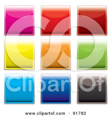 Royalty-Free (RF) Clipart Illustration of a Digital Collage Of Vibrant, Shiny Square App Buttons by michaeltravers