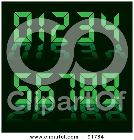 Royalty-Free (RF) Clipart Illustration of a Collage Of Green Digital Clock Numbers On Black by michaeltravers