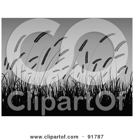 Royalty-Free (RF) Clipart Illustration of Wheat Grasses Silhouetted And Waving Against A Gradient Gray Background by KJ Pargeter