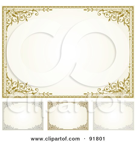 Royalty-Free (RF) Clipart Illustration of a Digital Collage Of Certificate Borders - 7 by BestVector
