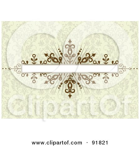 Royalty-Free (RF) Clipart Illustration of a Brown Burst Banner Over A Beige Floral Pattern Background by BestVector