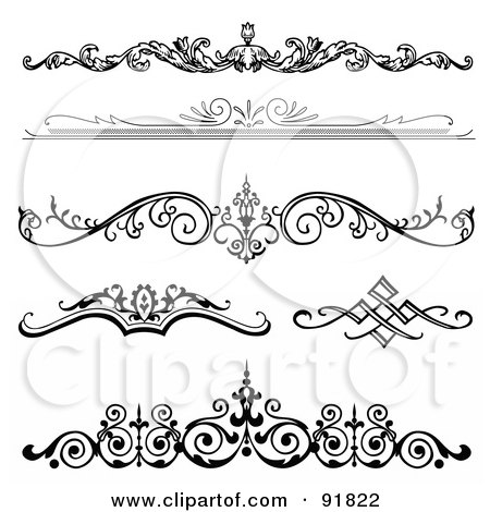 digital collage of six black and white elegant floral design headers
