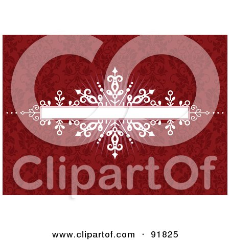 Royalty-Free (RF) Clipart Illustration of a White Burst Banner Over A Red Floral Pattern Background by BestVector