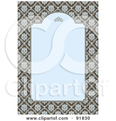 Royalty-Free (RF) Clipart Illustration of a Vertical Blue And Brown Damask Invitation Background by BestVector