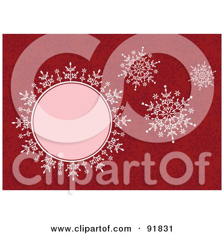 Royalty-Free (RF) Clipart Illustration of Four Pink Snowflakes Over A Red Snowflake Background by BestVector