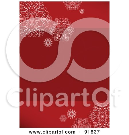 Red Vertical Holiday Background With Snowflakes And Text Space