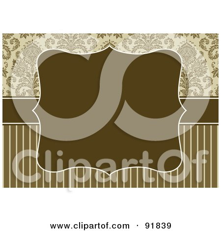 Royalty-Free (RF) Clipart Illustration of a Blank Brown Text Box Over Stripes And Damask Designs by BestVector