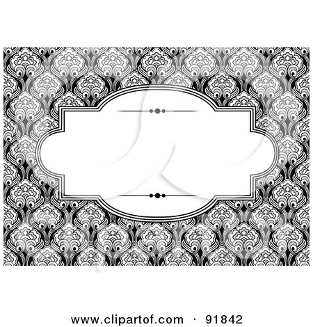 Elegant Text Box Over A Black And White Floral Background ...Elegant Black And White Backgrounds
