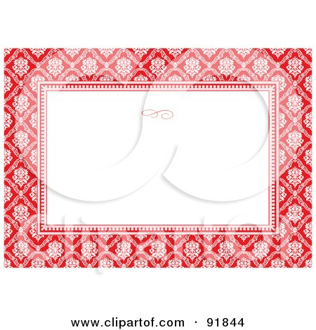 Royalty-Free (RF) Clipart Illustration of an Invitation Template Background With A Red And White Damask Pattern by BestVector