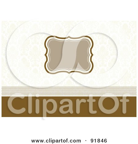 Royalty-Free (RF) Clipart Illustration of a Blank Tan Text Box Over A Faint Damask Pattern And Brown Lines by BestVector