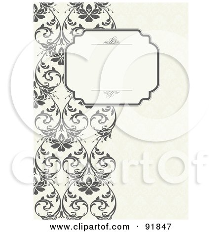 Royalty-Free (RF) Clipart Illustration of a Blank Text Box Over A Left Border Of Vines by BestVector