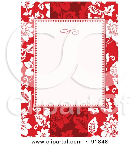 Royalty-Free (RF) Clipart Illustration of a Blank Text Box Over A Red Tropical Floral Background by BestVector