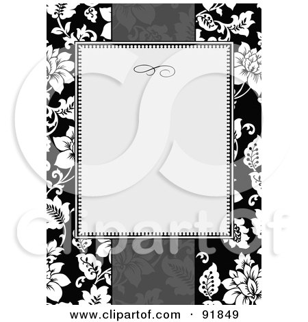 Royalty-Free (RF) Clipart Illustration of a Blank Text Box Over A Grayscale Tropical Floral Background by BestVector