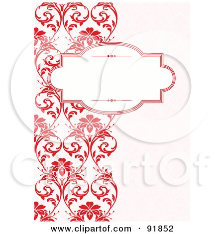 Royalty-Free (RF) Clipart Illustration of a Blank Text Box Over A Left Border Of Red Vines by BestVector