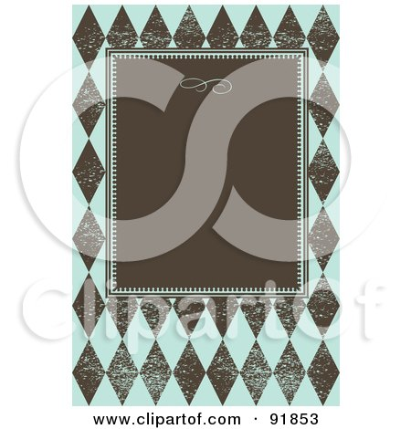 Royalty-Free (RF) Clipart Illustration of a Brown Text Box On A Distressed Blue And Brown Diamond Pattern by BestVector