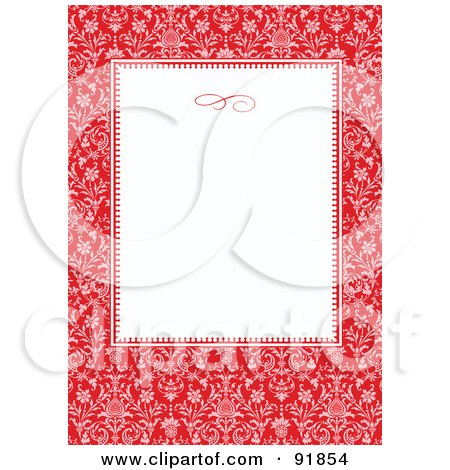 Royalty free rf clipart illustration of a red elegant floral royalty free rf clipart illustration of a red elegant floral border around a blank white text box by bestvector stopboris Gallery