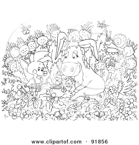 Black And White Pig Donkey Coloring Page Outline