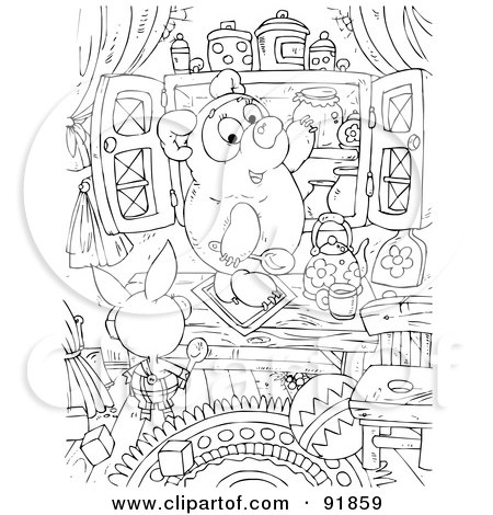 Black And White Pig Bear Honey Coloring Page Outline