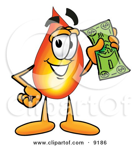 Clipart Picture of a Flame Mascot Cartoon Character Holding a Dollar Bill by Toons4Biz
