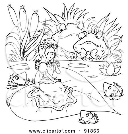 royalty free rf clipart illustration of a black and white thumbelina coloring page outline 3 by alex bannykh