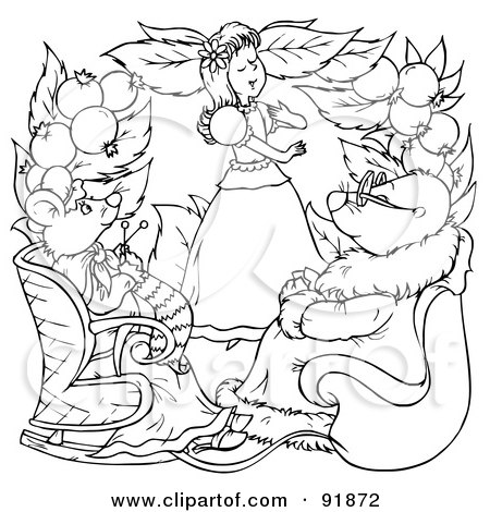 royalty free rf clipart illustration of a black and white thumbelina coloring page outline 7 by alex bannykh